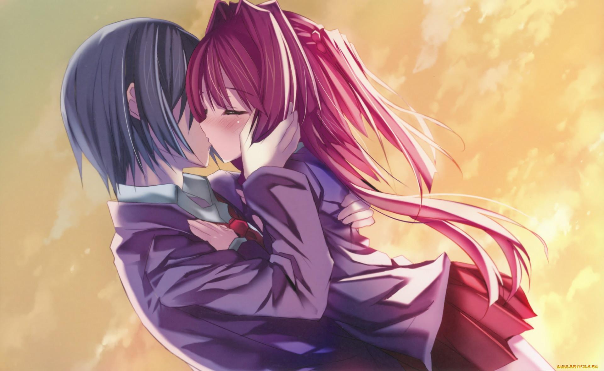 Картинки аниме про поцелуй
